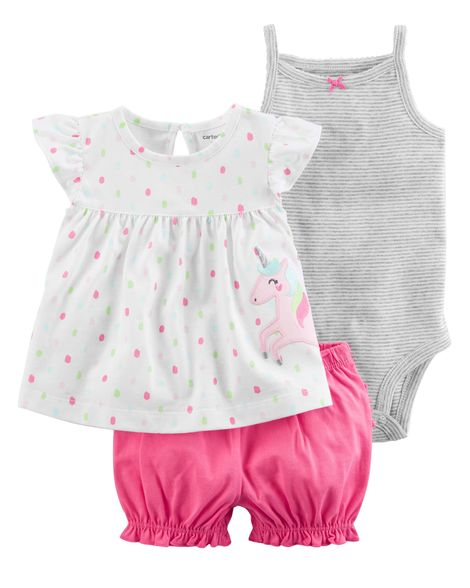3-piece bodysuit and diaper cover set