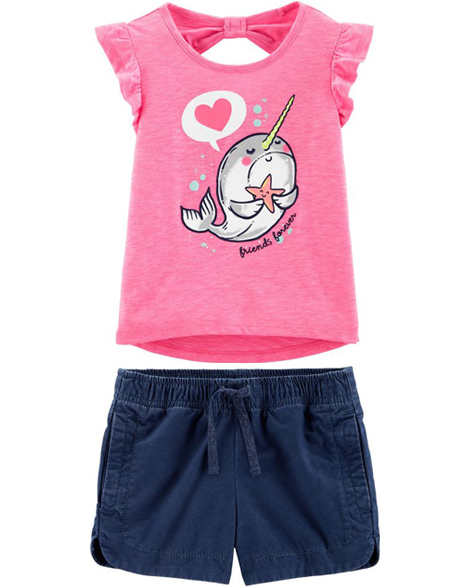 narwhal top with shorts
